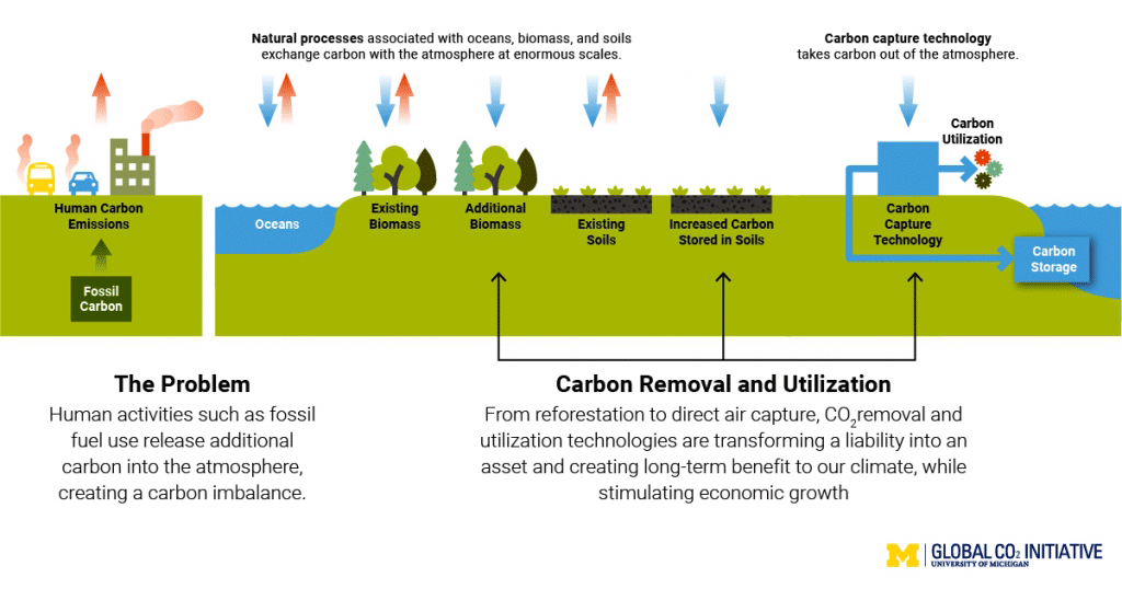carbon cycle explained in terms of natural processes, the problem, and carbon removal.