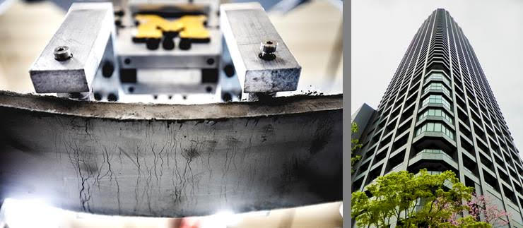 side-by-side images of bendable concrete example and looking up toward the top of the Kitahama building