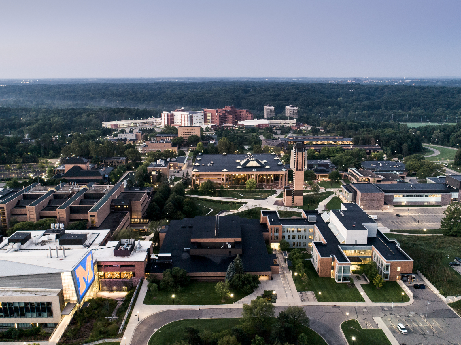 Overhead view of University of Michigan's North Campus showing the Lurie Bell Tower, Duderstadt Center, North Campus Diag, and Engineering buildings.