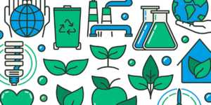 plant, chemistry, and recycling illustrations