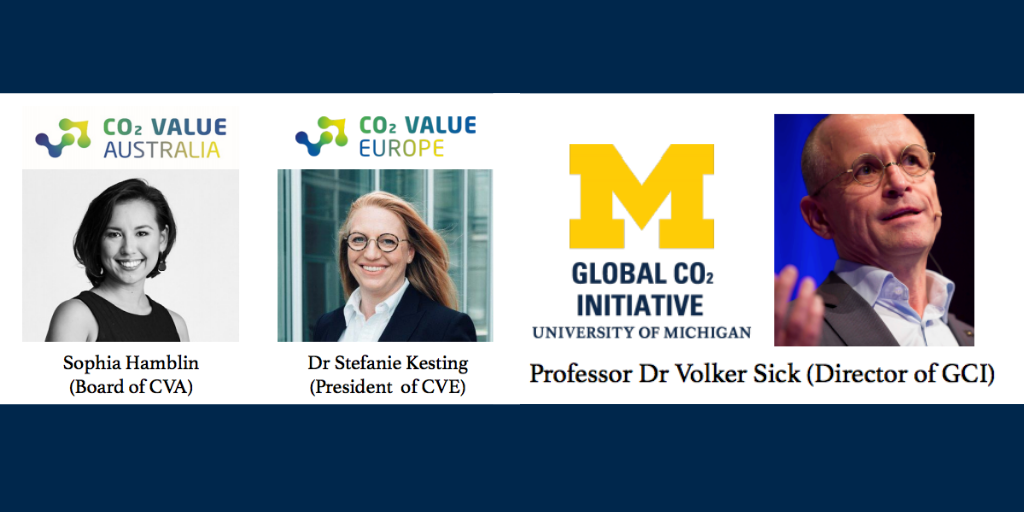 collage of portraits including Sophia Hamblin, Dr. Stefanie Kesting, and Professor Dr. Volker Sick (Director of Global CO2 Initiative).