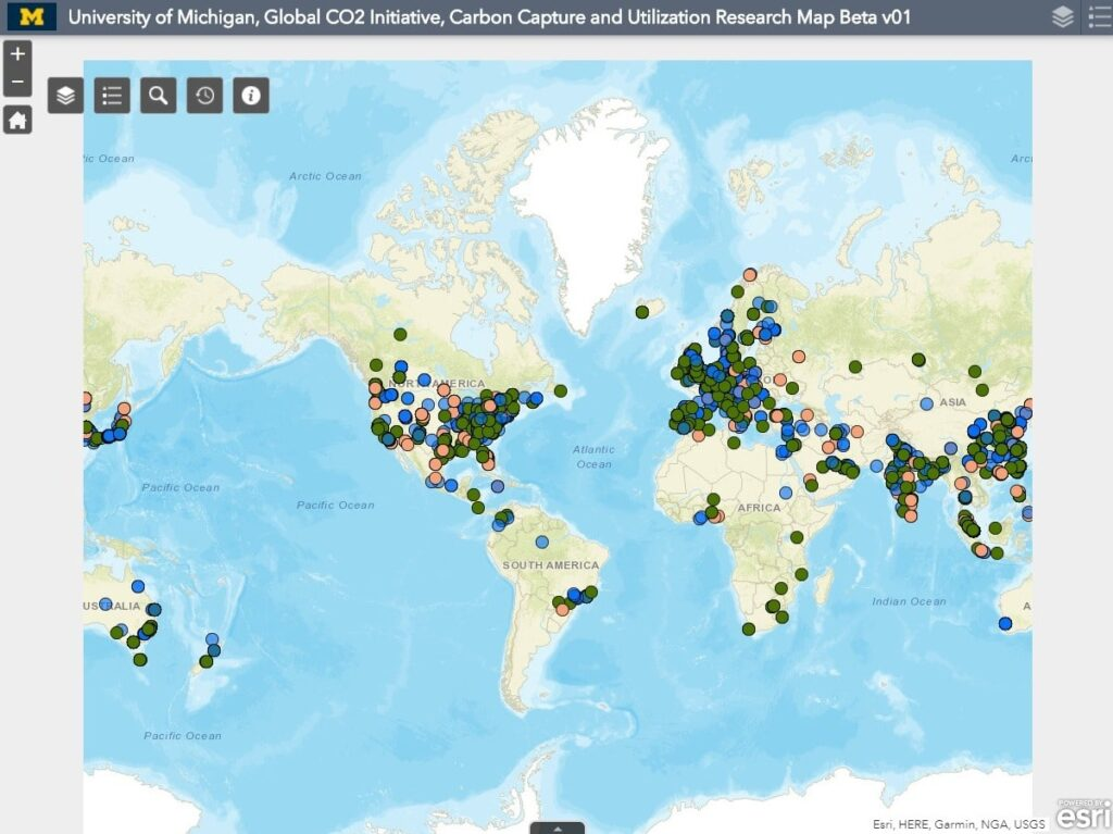 carbon capture utilization activity hub map.