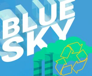 Blue Sky with green smokestack illustration with recycle logo overlaying green smoke.